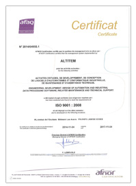 Altitem certifications ISO9001-2008